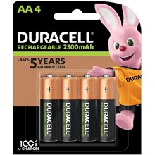 DURACELL -AA 2500MAH RECHARGEABLE BATTERY - 4 PACK