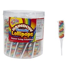 MR CANDY - SPIRAL RAINBOW LOLLIPOPS - 75 PACK