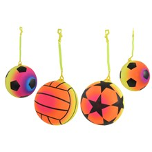"OUTDOOR FUN - 9"" NEON FOOTBALL WITH KEYCHAIN 4ASST"