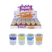 CLEAR SLIME WITH FOAM BEADS - 4 ASSORTED