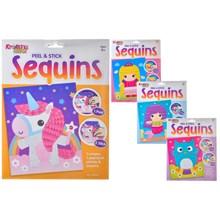 KREATIVE KIDS - PEEL AND STICK SEQUIN ART - 4 ASST