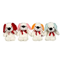 30CM PLUSH DOG W/ COLOURED EARS - 4ASST