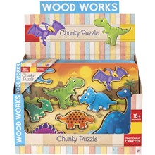 WOOD WORKS - CHUNKY PUZZLE DINO - 2ASST