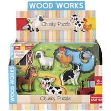 WOOD WORKS - CHUNKY PUZZLE FARM - 2ASST