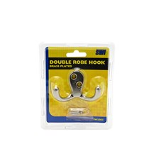 SWL - DOUBLE ROBE HOOK - BRASS PLATED
