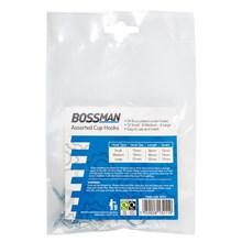 BOSSMAN - ASSORTED CUP HOOKS - 24 PACK