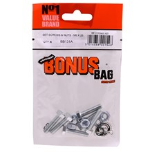 VALUE BRAND - SCREWS AND NUTS SET M6 X 25MM - 6PK