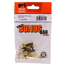 VALUE BRAND - PICTURE HOOKS AND PINS ASST - 12PACK
