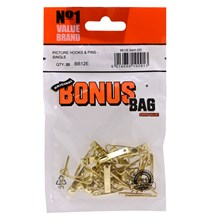 VALUE BRAND - SINGLE PICTURE HOOKS AND PINS - 20PK