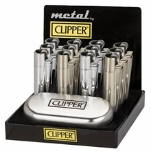 CLIPPER METAL FLINT - SILVER COLOUR - 12 PACK