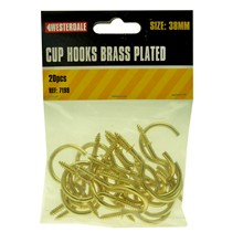 20PC CUP HOOKS BRASS PLATED SIZE 38MM