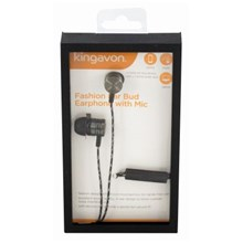 KINGAVON FASHION EARPHONES WITH MIC - BLACK
