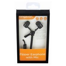 KINGAVON ZIPPER EARPHONES WITH MIC - BLACK