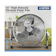 "STATUS - 16"" CHROME FLOOR FAN"