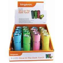 KINGAVON - 9LED GLOW IN THE DARK TORCH - 4ASST
