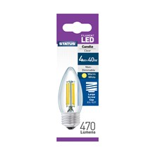 STATUS FILAMENT BULB- E27 CANDLE WARM WHITE-4W/40W