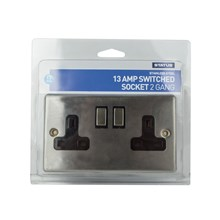 STATUS - 2 GANG SWITCHED SOCKET - STAINLESS STEEL