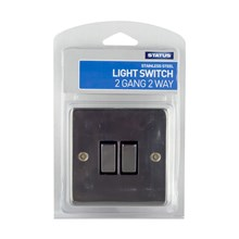 STATUS - 2GANG 2 WAY LIGHT SWITCH -STAINLESS STEEL