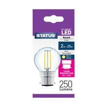 STATUS - FILAMENT GOLF CLEAR LED BULB - BC 2W~25W