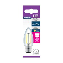 STATUS - FILAMENT CANDLE CLEAR LED BULB - BC 2W/25