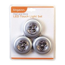 KINGAVON - PEEL AND STICK LED TOUCH LIGHT - 3 PACK