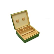 LARGE GREEN WOODEN ROLLING BOX