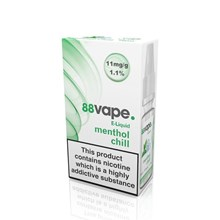 88 VAPE E-LIQUID 11MG MENTHOL CHILL 10ML