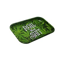 SMALL METAL ROLLING TRAY GREEN LEAVES