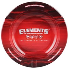 ELEMENTS RED ROUND METAL ASHTRAY