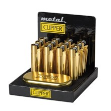 CLIPPER METAL FLINT - GOLD BRUSHED - 12 PACK