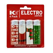KTWO 4PK REFILLABLE CHRISTMAS LIGHTER