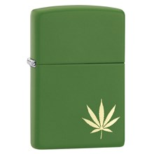 ZIPPO MOSS GREEN MATTE WITH 1 LEAF