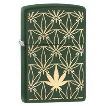 ZIPPO GREEN MATTE WITH LEAVES LASER ENGRAVE