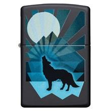 ZIPPO - BLACK MATTE WOLF AND MOON