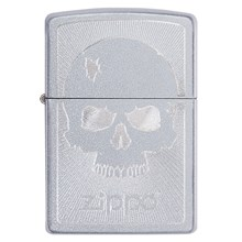 ZIPPO - SATIN CHROME SKULL WITH LINES