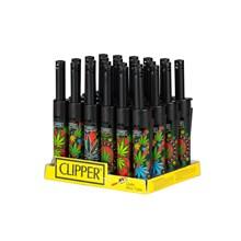 CLIPPER MINI TUBE LIGHTER - LEAVES 5 - 24 PACK
