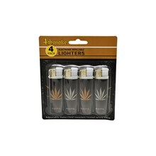 4SMOKE LIGHTERS - BLACK GOLD SILVER RASTA - 4 PACK