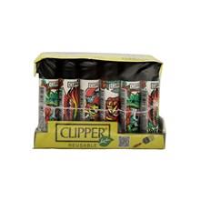 CLIPPER CLASSIC FLINT - SKULLS AND ROSES - 24 PACK