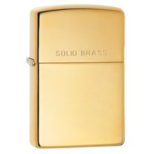 ZIPPO - HI POLISH BRASS WITH 'SOLID BRASS' ON LID
