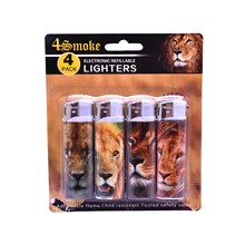 4SMOKE LIGHTERS - LION - 4 PACK