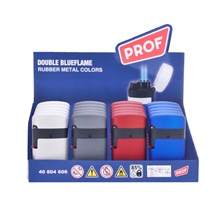 PROF DOUBLE BLUEFLAME LIGHTER-RUBBER METAL COLOURS