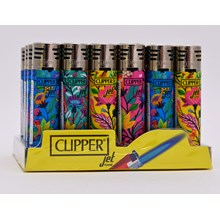 CLIPPER REFILLABLE JET LIGHTER - FLORAL - 24 PACK