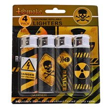 4SMOKE LIGHTERS - HAZARD - 4 PACK