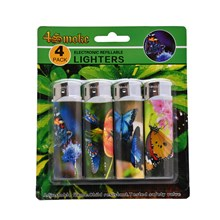 4SMOKE LIGHTERS - BUTTERFLY - 4 PACK
