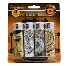 4SMOKE LIGHTERS - TIME - 4 PACK