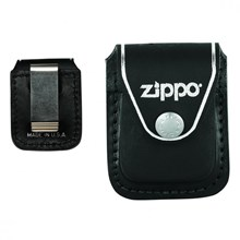 ZIPPO - REAL LEATHER LIGHTER POUCH - CLIP BLACK