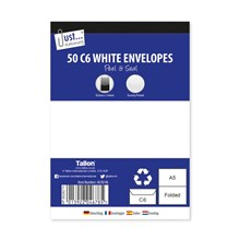 JUST STATIONERY - C6 WHITE ENVELOPES - 50 PACK