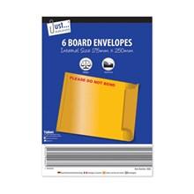 JUST STATIONERY - RIGID CARD ENVELOPES - 6 PACK