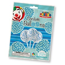 "12"" CONFETTI BALLOONS BLUE - 6 PACK"
