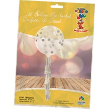 "36"" TASSEL TAIL BALLOON - SILVER CIRCLE CONFETTI"